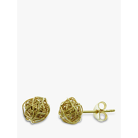 Buy Nina Breddal 9ct Yellow Gold Wire Ball Stud Earrings, Gold Online at johnlewis.com