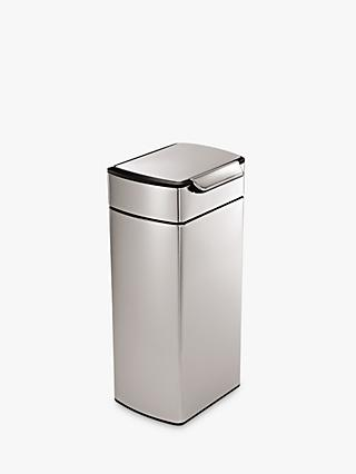 simplehuman Rectangular Touch Bar Bin, Brushed Stainless Steel, 30L