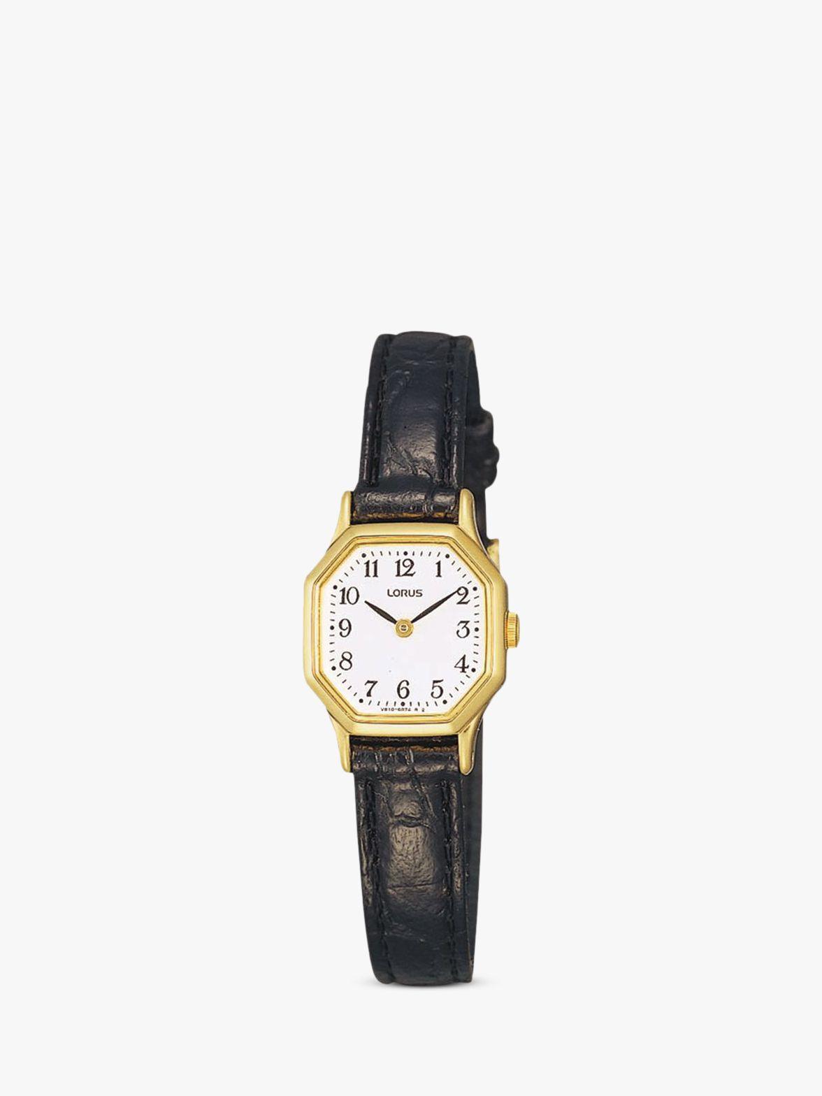 Lorus Lorus RPG40BX8 Women's Hexagonal Dial Leather Strap Watch, Black/White