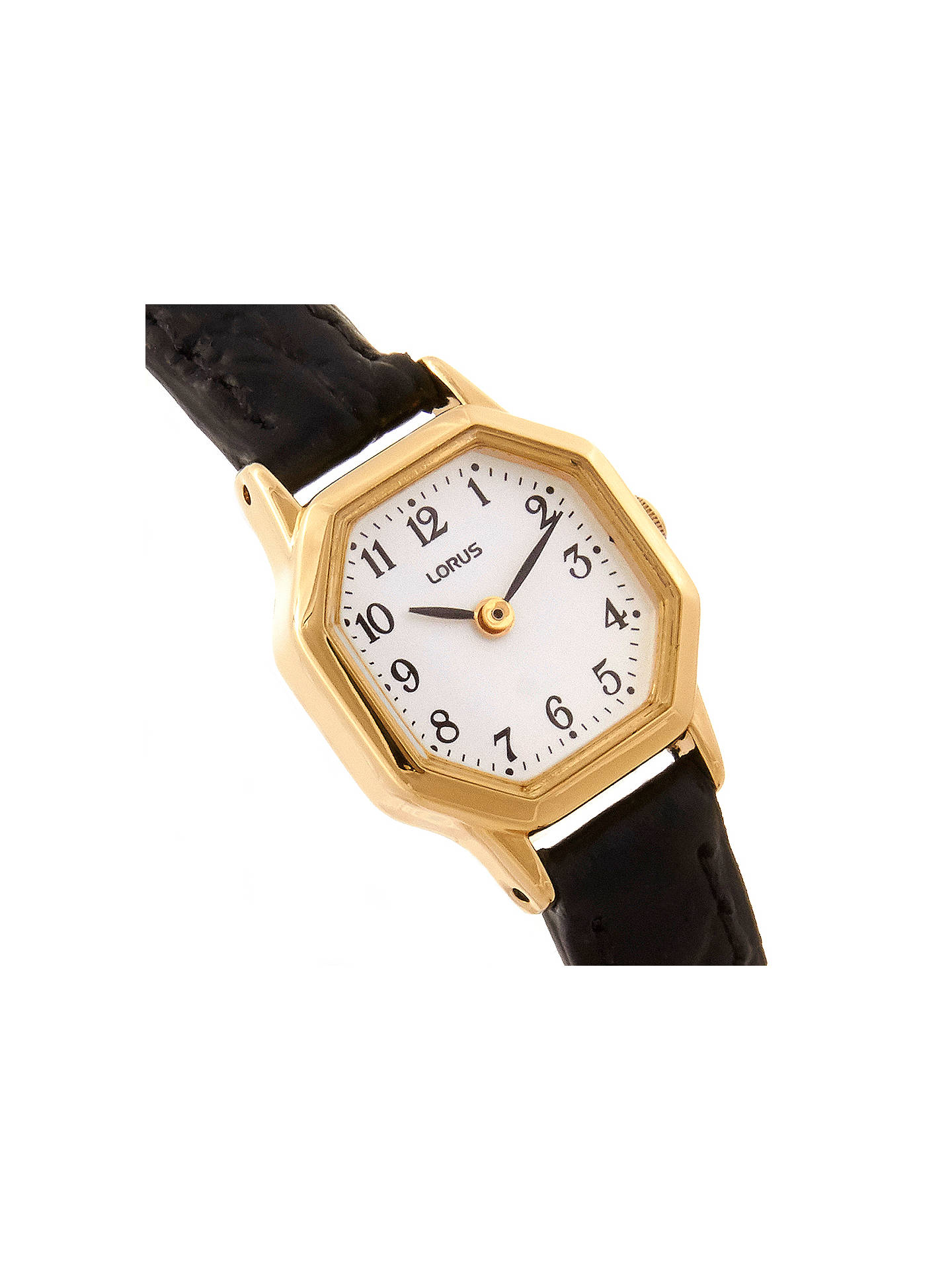 BuyLorus RPG40BX8 Women's Hexagonal Dial Leather Strap Watch, Black/White Online at johnlewis.com