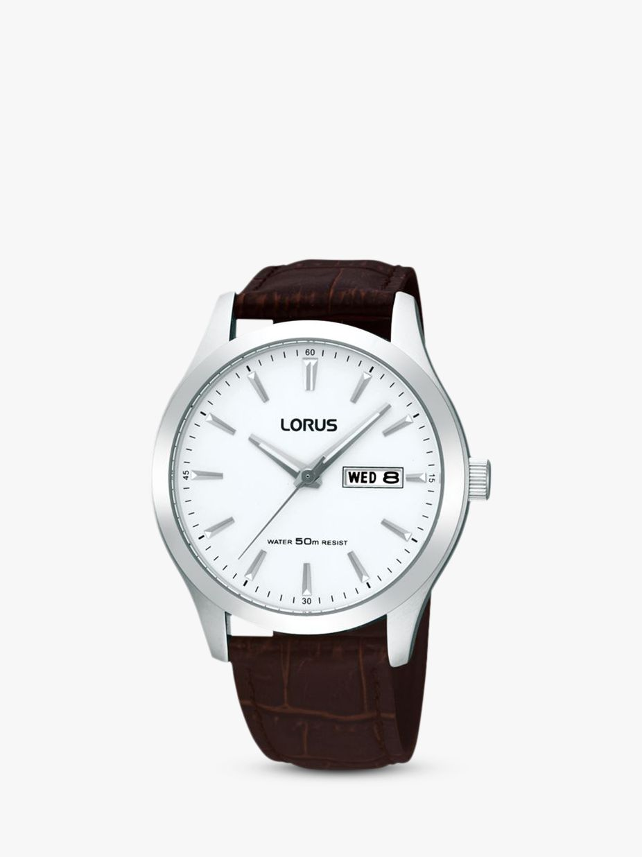 Lorus Lorus RXN29DX9 Men's Classic Day Date Leather Strap Watch, Brown/White