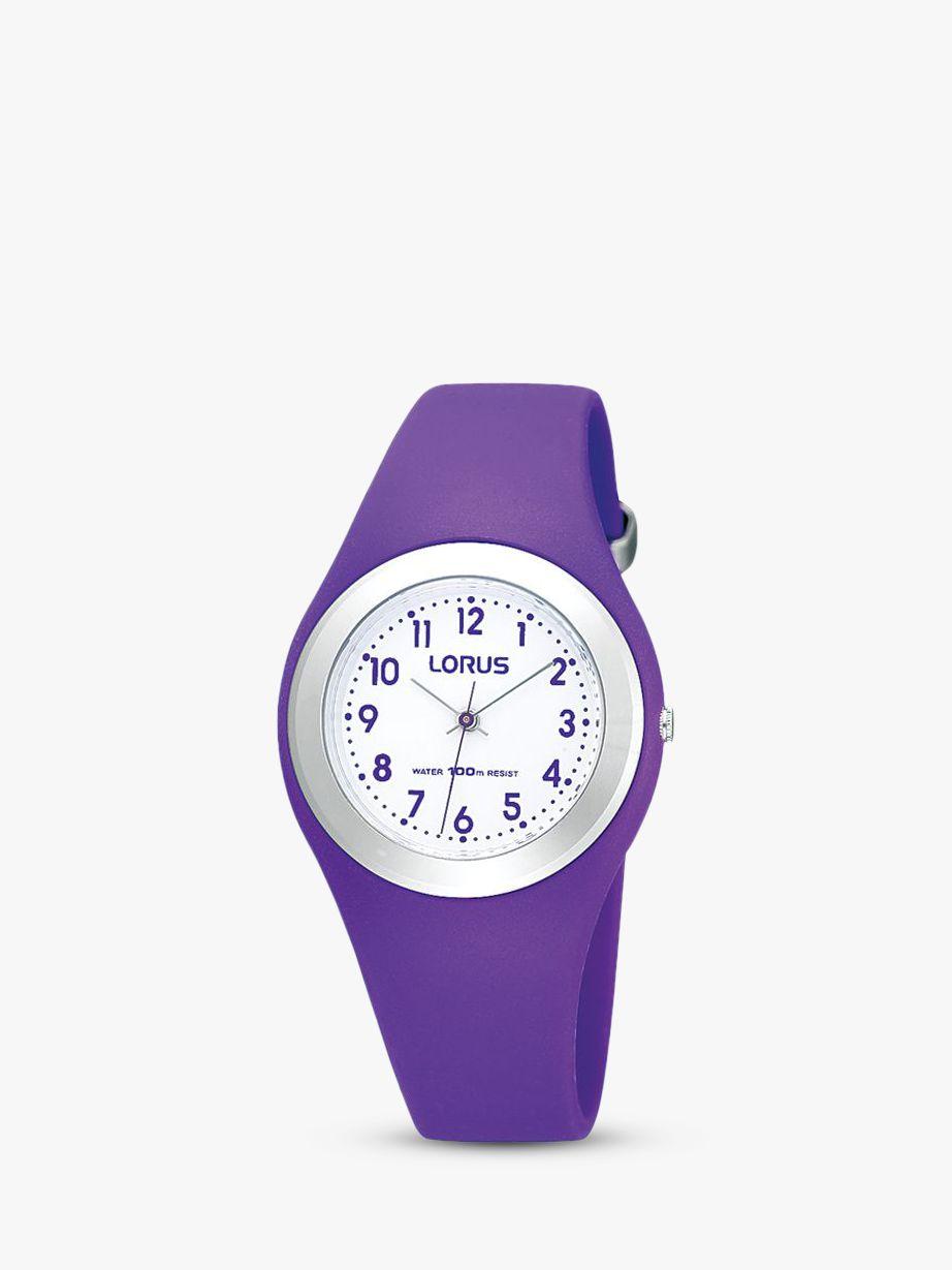 Lorus Lorus R2305GX9 Children's Easy Read Rubber Strap Watch, Purple/White