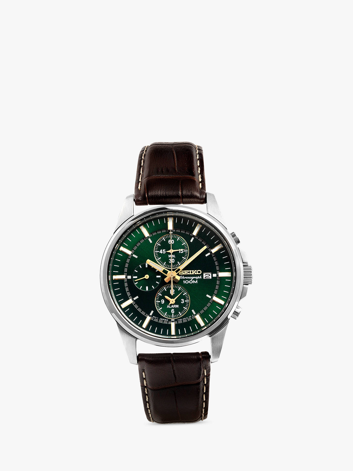 353ce7109 Buy Seiko SNAF09P1 Men's Chronograph Leather Strap Watch, Brown/Green  Online at johnlewis.