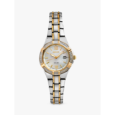 Seiko SUT068P9 Women's Solar Diamond Set Bezel Bracelet Strap Watch, Multi/Mother of Pearl