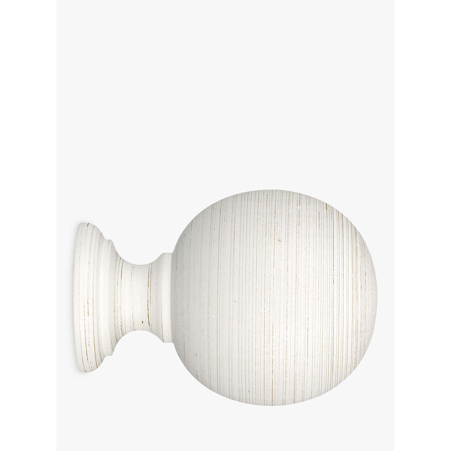John Lewis Scratched White Wood Ball Finial Dia 35mm At