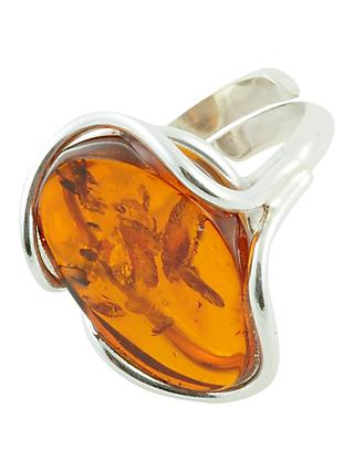 Be-Jewelled Free Form Adjustable Oval Amber Cocktail Ring, Orange