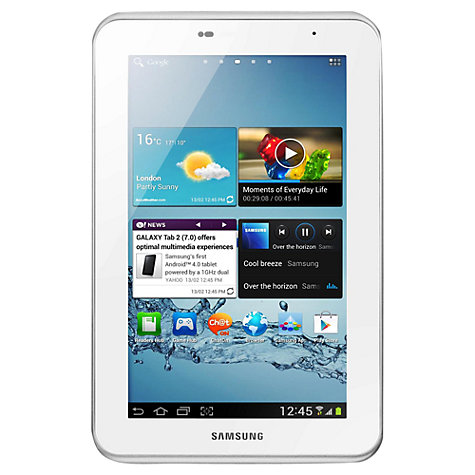"Buy Samsung Galaxy Tab 2  7.0 Tablet, ARM Cortex A9, Android, 7"", Wi-Fi, 8GB, White Online at johnlewis.com"