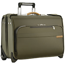 Buy Briggs & Riley Baseline Carry-On 2-Wheel Garment Bag, Olive Online at johnlewis.com