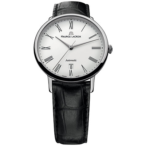 Buy Maurice Lacroix LC6067-SS001-110 Men's Les Classiques Tradition Leather Strap Watch, Black/White Online at johnlewis.com