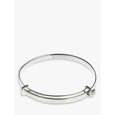 Nina B Sterling Silver Duck Detail Baby Bangle, Silver, Blue Packaging