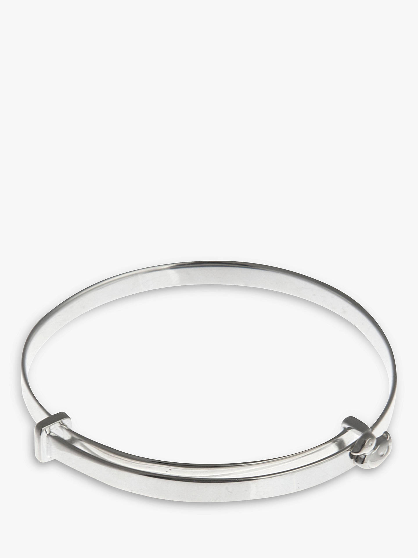 BuyNina B Sterling Silver Duck Detail Baby Bangle, Silver, Blue Packaging Online at johnlewis.com