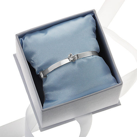 Buy Nina B Sterling Silver Duck Detail Baby Bangle, Silver, Blue Packaging Online at johnlewis.com