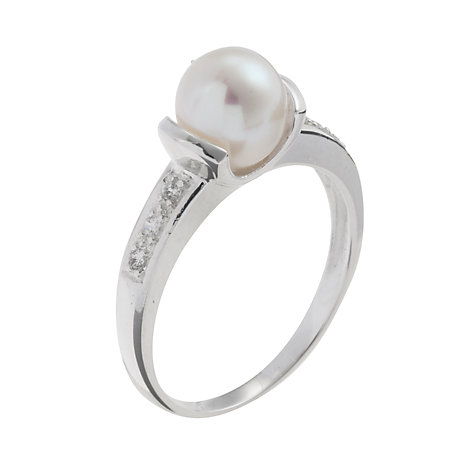 Buy A B Davis Silver Single White Pearl Cubic Zirconia Shoulder Set Ring, N Online at johnlewis.com