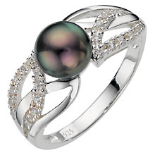 Buy A B Davis Sterling Silver Black Pearl Cubic Zirconia Ring, N Online at johnlewis.com