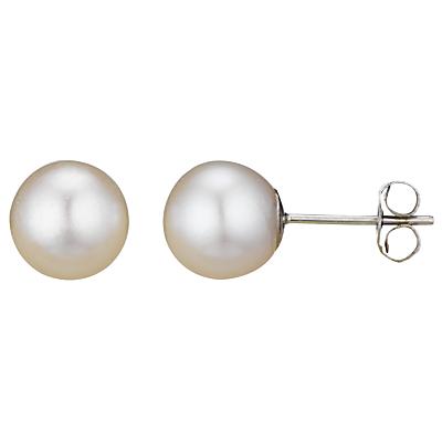 A B Davis 18ct White Gold Round Pearl Stud Earrings, White