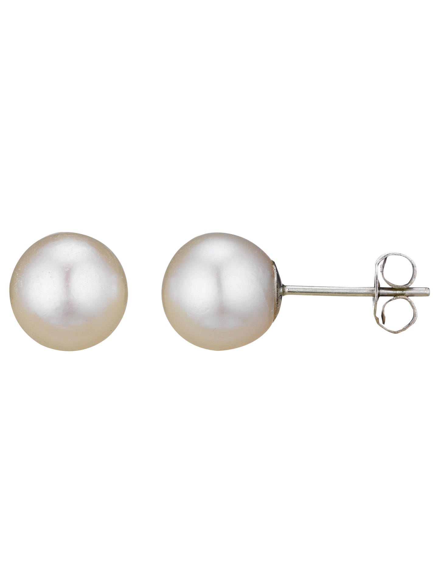 A B Davis 18ct White Gold Round Pearl Stud Earrings