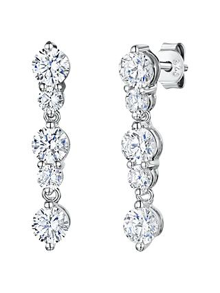 Jools by Jenny Brown 5 Rhodium and Cubic Zirconia Drop Earrings, Silver