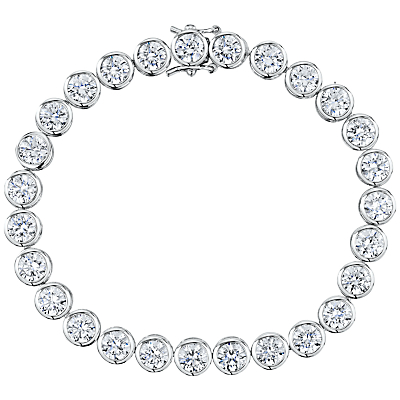 Jools by Jenny Brown Round Rubover Cubic Zirconia Tennis Bracelet, Silver