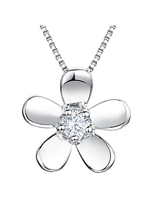 Jools by Jenny Brown Cubic Zirconia Flower Pendant Necklace, Silver