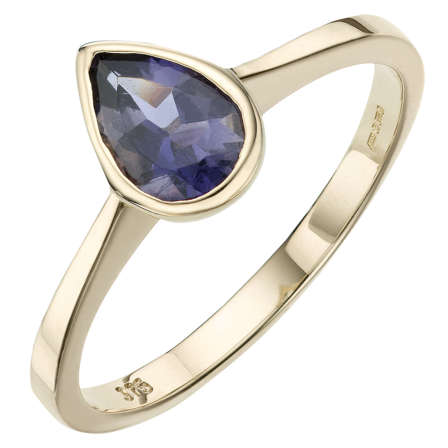 BuyA B Davis 9ct Yellow Gold Pearshaped Rubover Gemstone Ring, Iolite Online at johnlewis.com