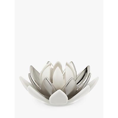 John Lewis Lotus Flower 3-Tier Tealight Holder, Silver/ White