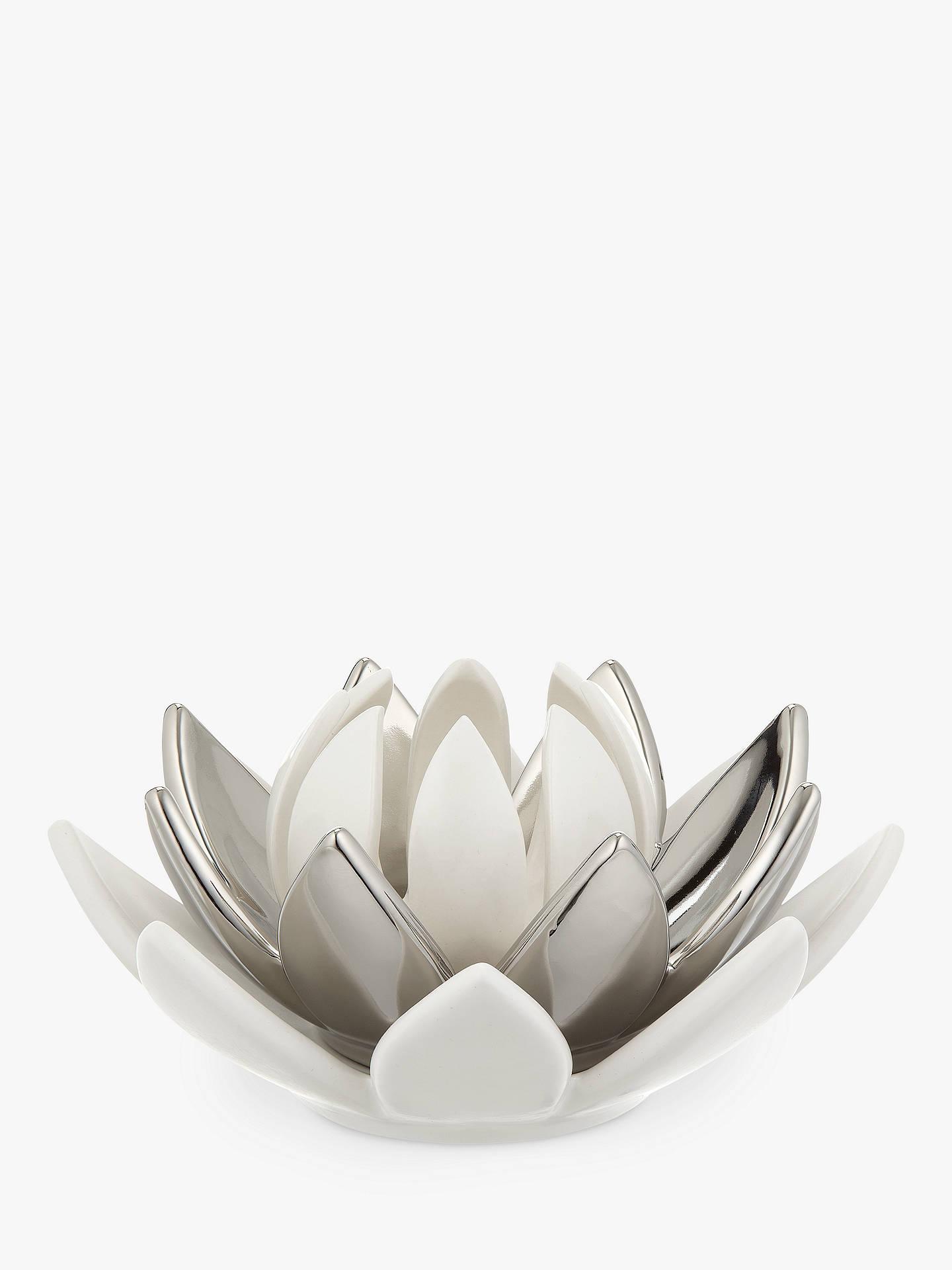 John Lewis Partners Lotus Flower 3 Tier Tealight Holder Silver