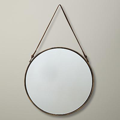 John Lewis Round Hanging Mirror, Matt Brass, Dia.38cm