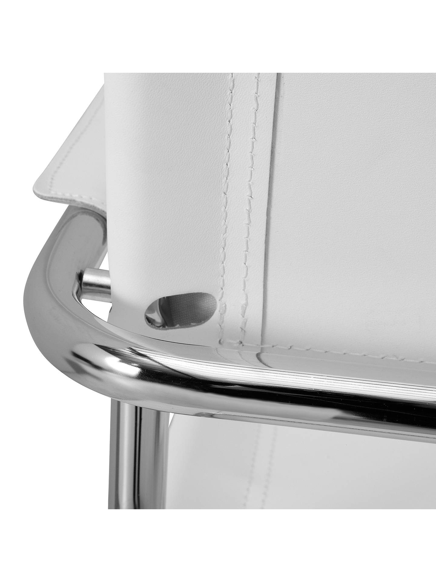 Buy John Lewis Delta Leather Dining Chair, White Online at johnlewis.com