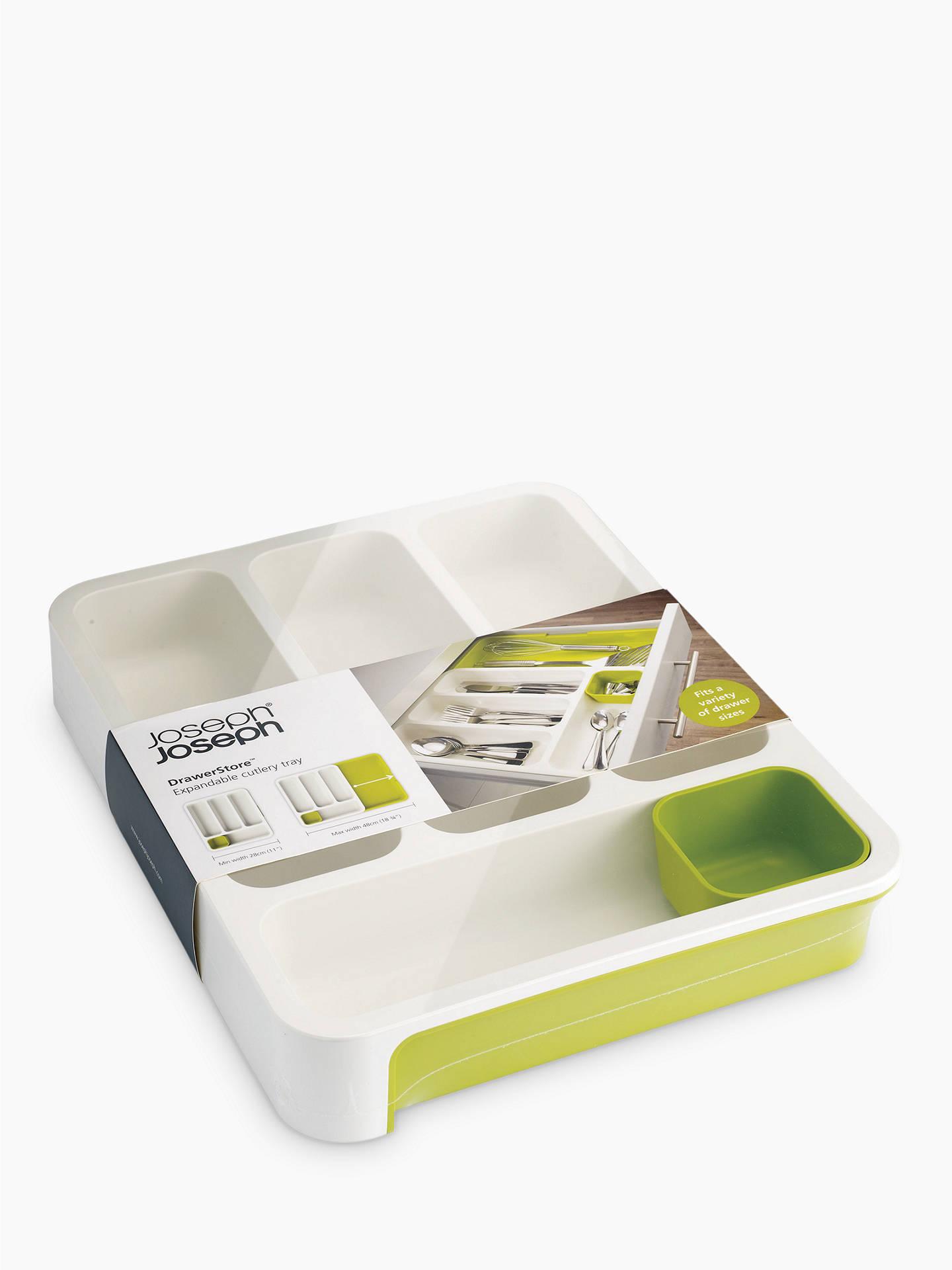 1111290e399c Buy Joseph Joseph DrawerStore Expandable Cutlery Tray, White / Green Online  at johnlewis.com ...