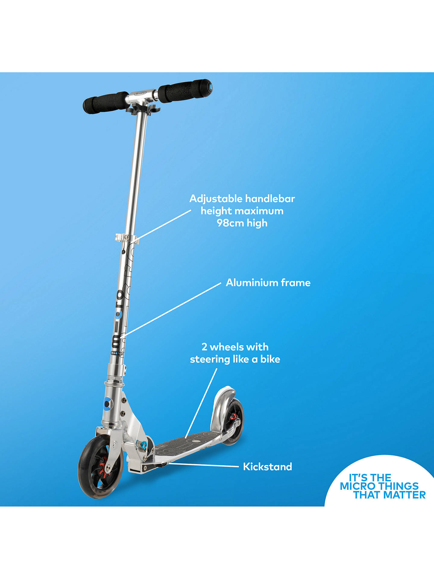 BuyMicro Speed Scooter, Adult, Grey Online at johnlewis.com