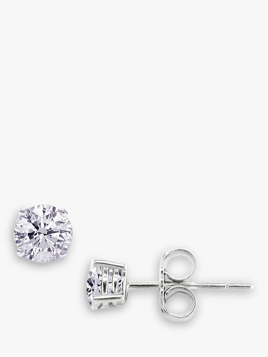 8be05df62 E.W Adams 18ct White Gold 0.80ct Diamond 4 Claw Stud Earrings, White Gold  at John Lewis & Partners