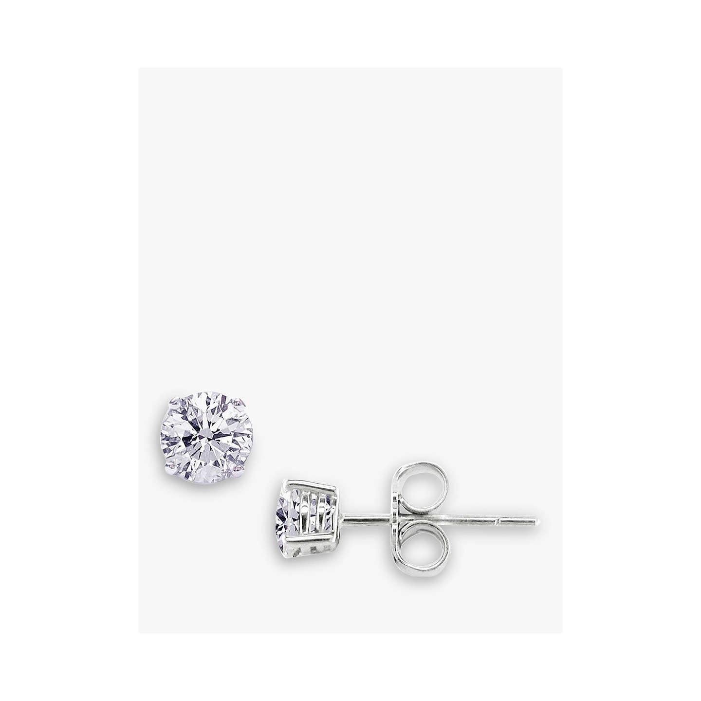 BuyEWA 18ct White Gold 0.80ct Diamond 4 Claw Stud Earrings, White Gold Online at johnlewis.com