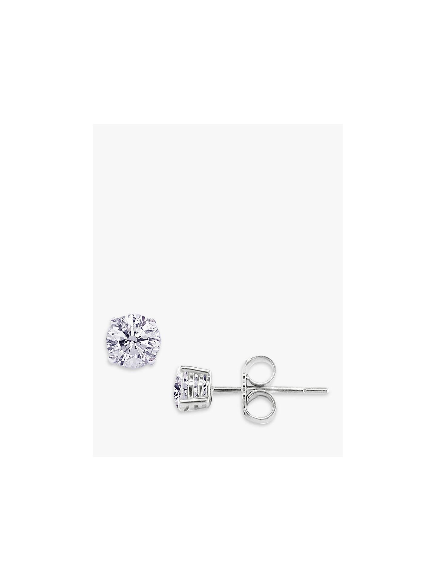 Ewa 18ct White Gold 0 80ct Diamond 4 Claw Stud Earrings White Gold