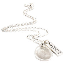 Buy FingerPrint Jewellery Teardrop Charm and Little Tag Necklace, Silver Online at johnlewis.com