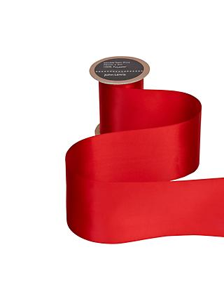 John Lewis & Partners Wide Satin Ribbon, 75mm, Red