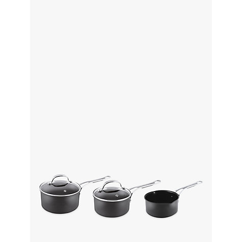 buy jamie oliver by tefal hard anodised saucepans set of 3 john lewis. Black Bedroom Furniture Sets. Home Design Ideas