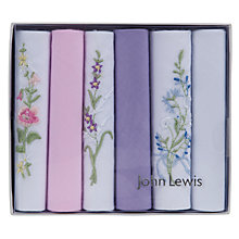Buy John Lewis Cotton Plain and Embroidery Handkerchiefs, Pack of 6, Multi Online at johnlewis.com