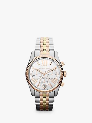 45a930c20fae Michael Kors MK5735 Women s Chronograph Triple Tone Bracelet Strap Watch