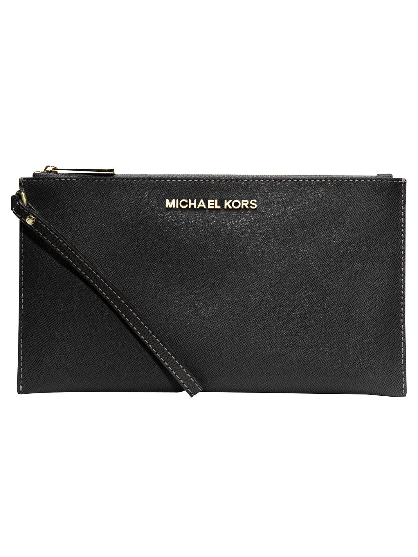 dcc1fef0a7d1 Buy MICHAEL Michael Kors Jet Set Travel Zip Top Leather Continental Purse,  Black Online at ...