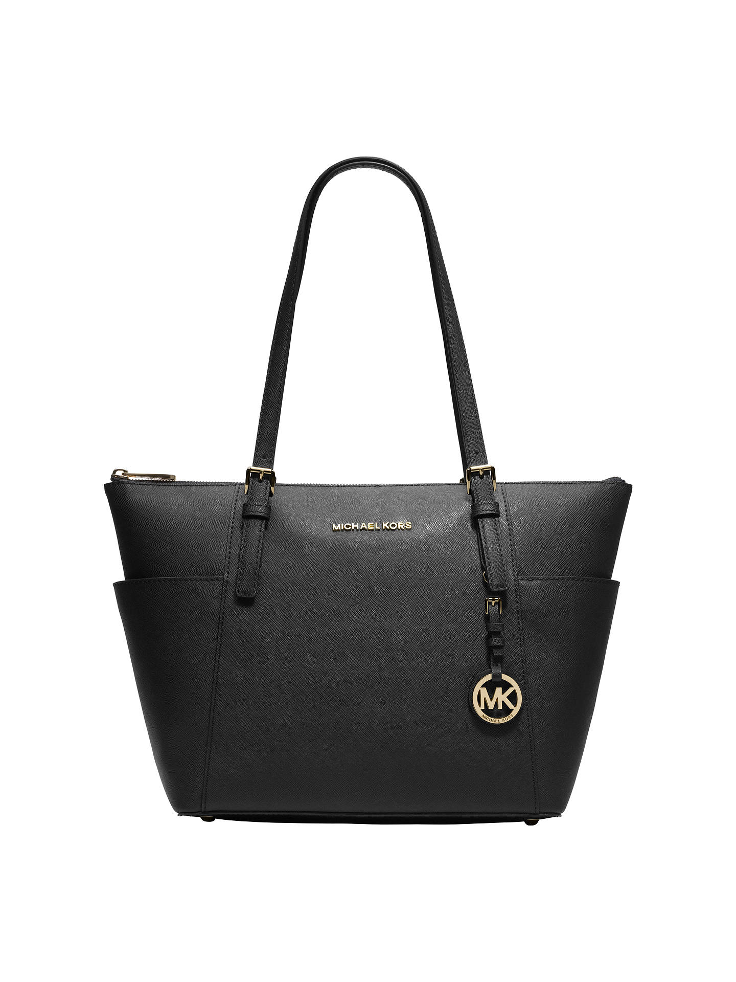 9af7f9b27f0f Buy MICHAEL Michael Kors Jet Set East/West Leather Tote Bag, Black Online  at ...