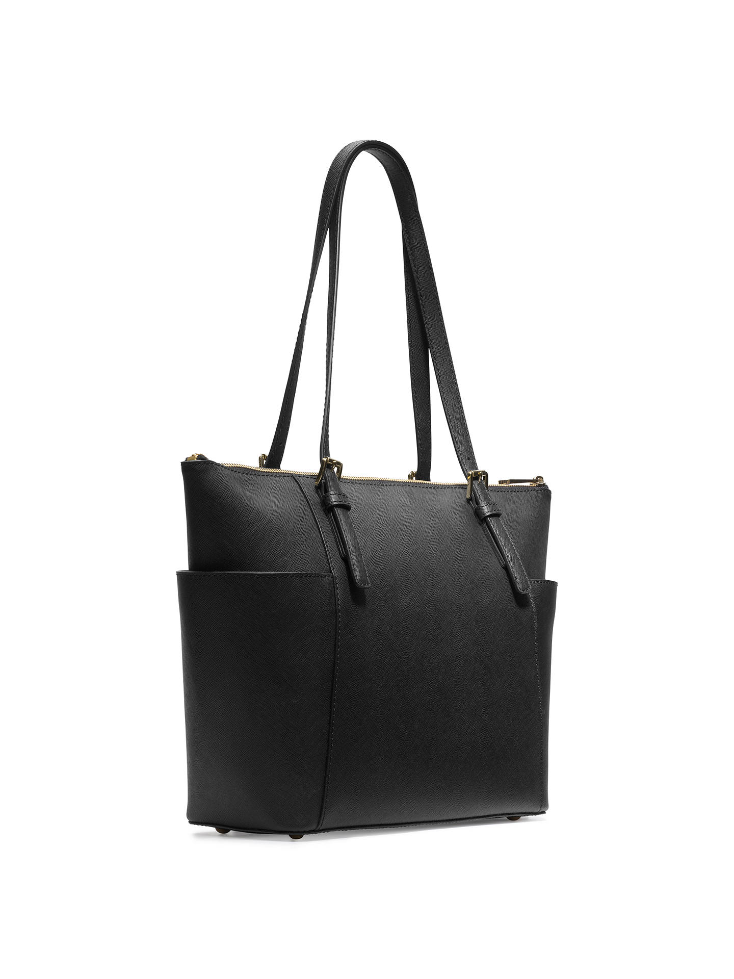 794f46a2fc3e ... Buy MICHAEL Michael Kors Jet Set East/West Leather Tote Bag, Black  Online at ...