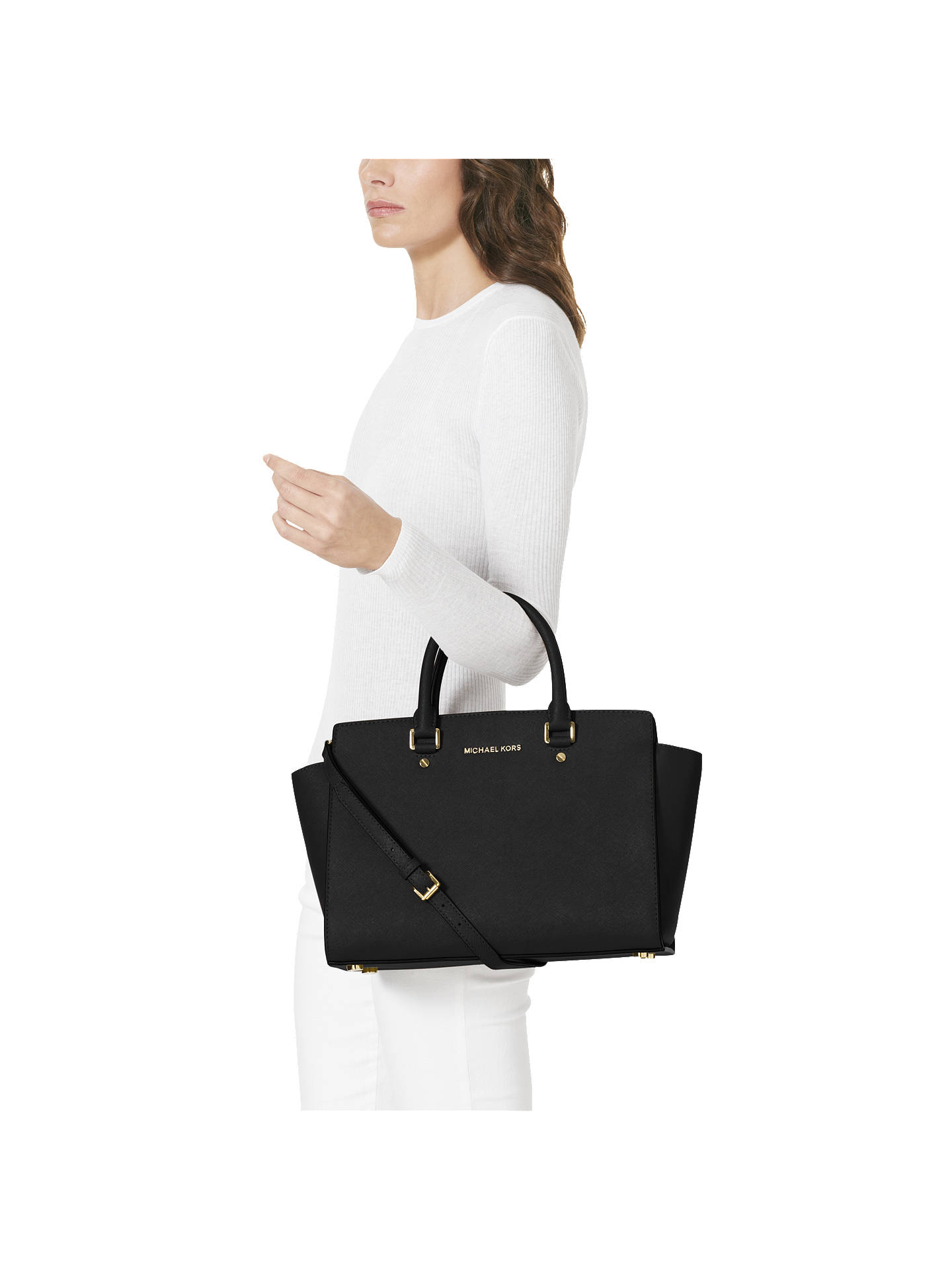 d461465897e902 ... Buy MICHAEL Michael Kors Selma Leather Satchel Bag, Black Online at  johnlewis.com