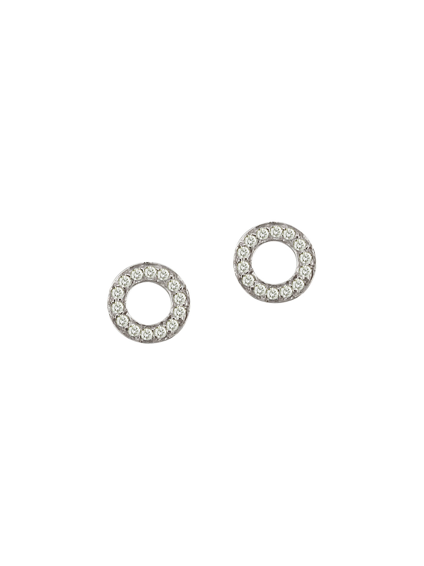 London Road Meridian 9ct Gold Diamond Circle Stud Earrings White Online At Johnlewis
