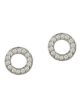 London Road Meridian 9ct Gold Diamond Circle Stud Earrings