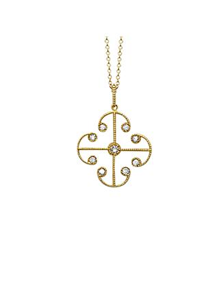 London Road 9ct Yellow Gold Portobello Small Diamond Lattice Pendant Necklace, Gold