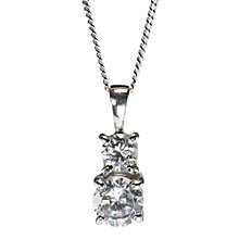 Buy Nina B Sterling Silver Double Cubic Zirconia Drop Pendant Online at johnlewis.com