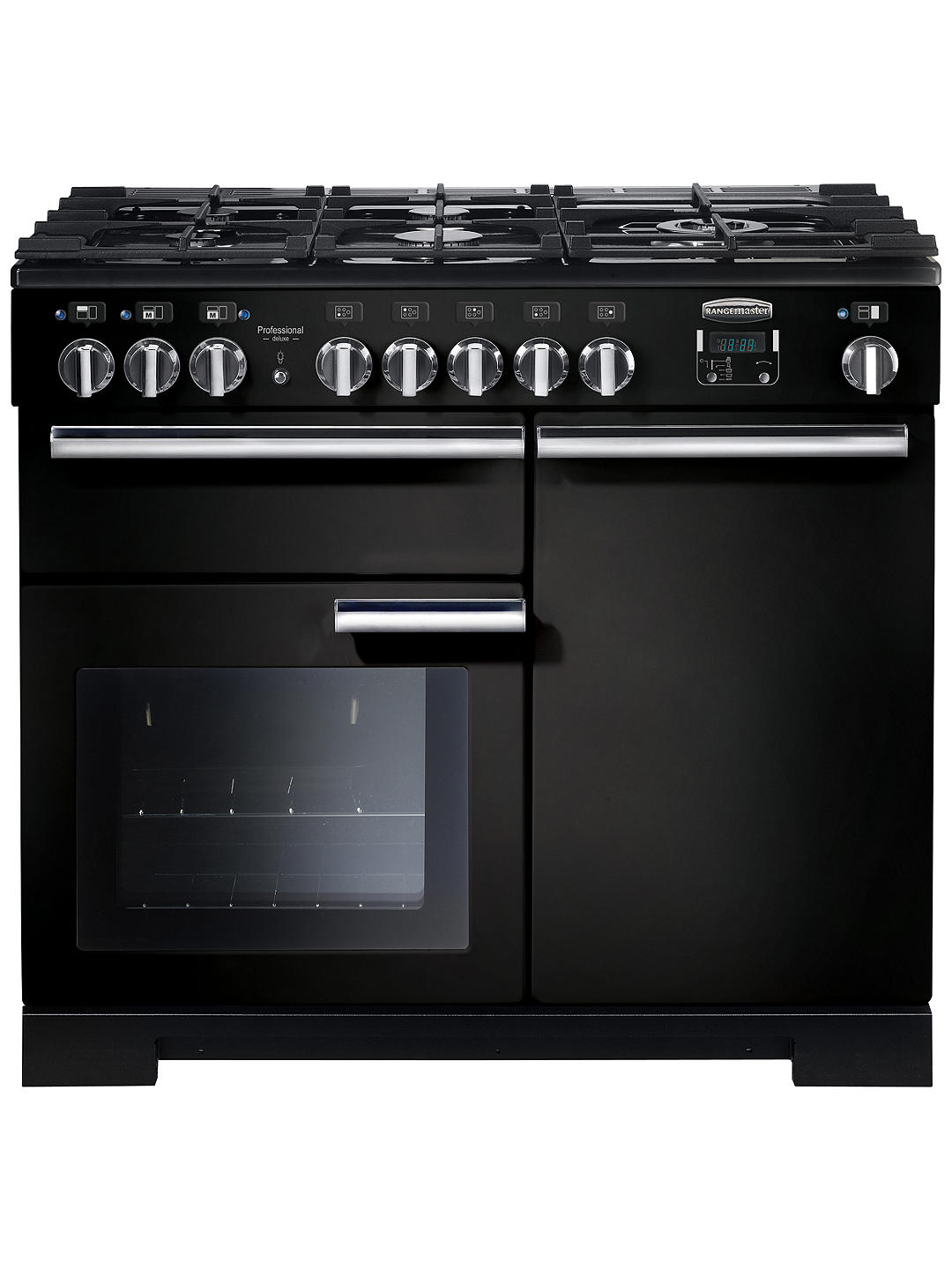 Buy Rangemaster Professional Deluxe 100 Dual Fuel Range Cooker, Black/Chrome Trim Online at johnlewis.com