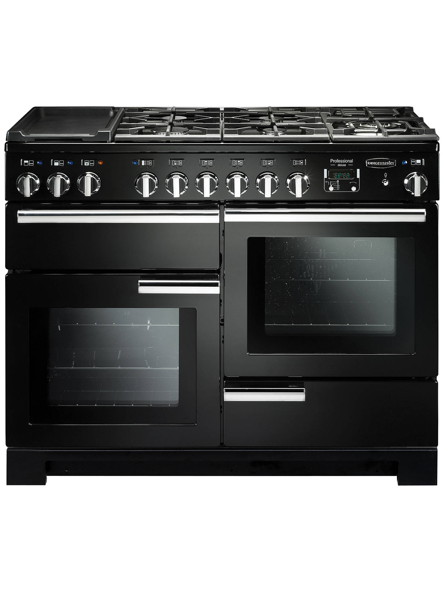 BuyRangemaster Professional Deluxe 110 Dual Fuel Range Cooker, Black/Chrome Trim Online at johnlewis.com