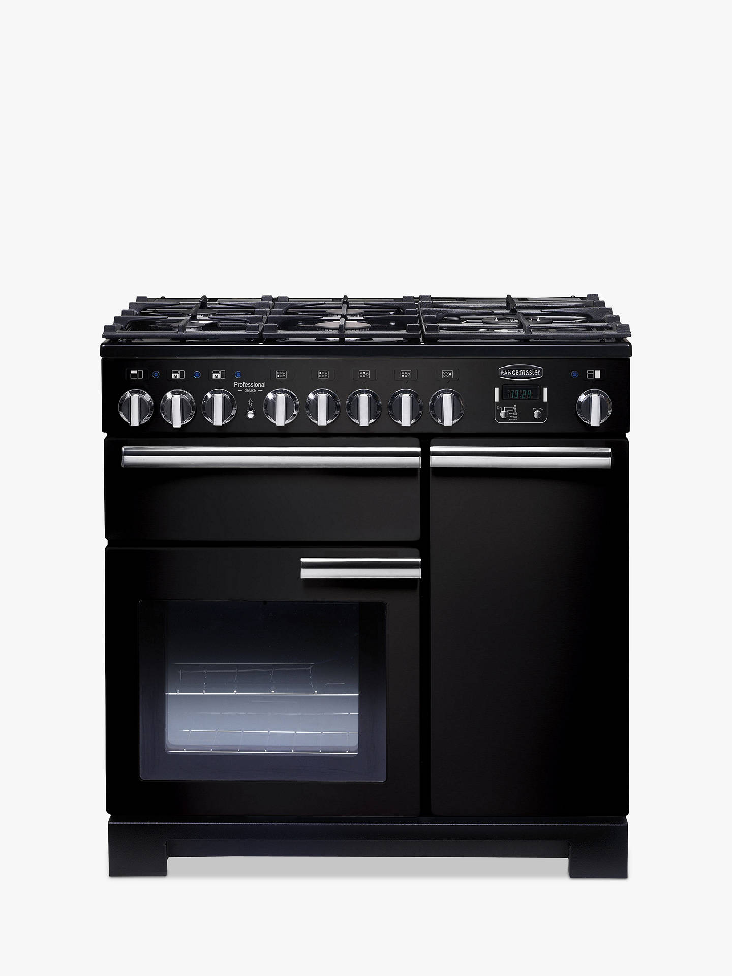 Buy Rangemaster Professional Deluxe 90 Dual Fuel Range Cooker, Black/Chrome Trim Online at johnlewis.com