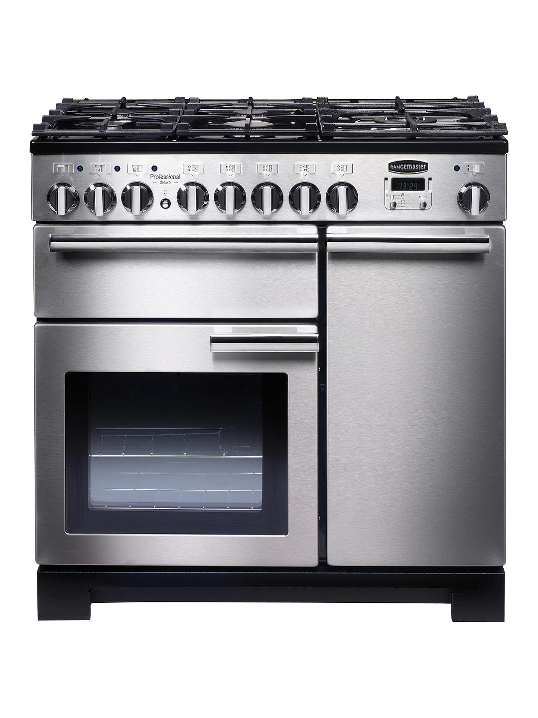 Buy Rangemaster Professional Deluxe 90 Dual Fuel Range Cooker, Stainless Steel/Chrome Trim Online at johnlewis.com